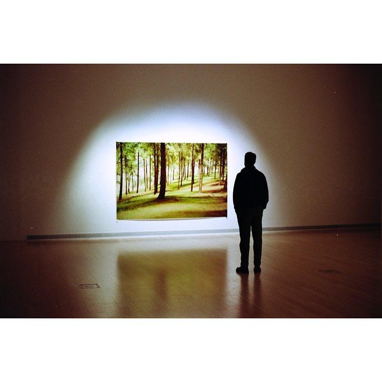 Man looking at painting