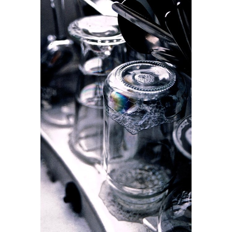 soap suds inside glass jars