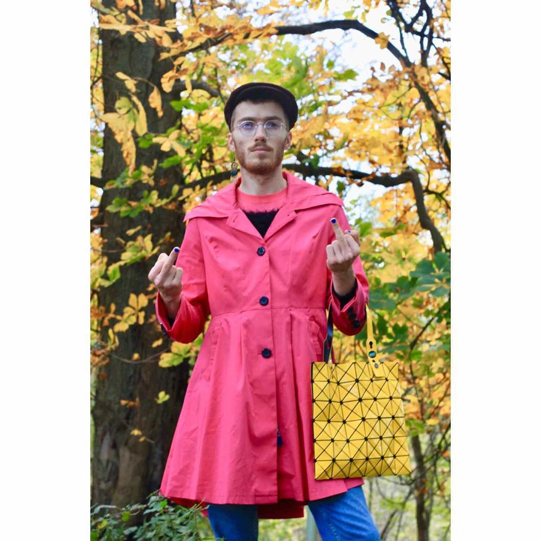 Man in a pink coat