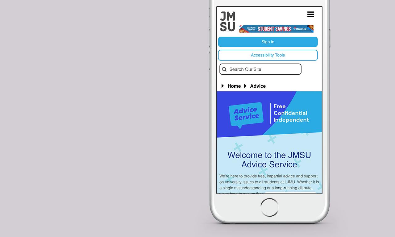 JMSU Website on a mobile